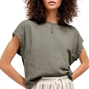 Free People You Rock Tee - Washed Army